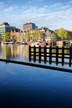 contrastive: City of Amsterdam river view, Netherlands, North Holland province. Stock Photo