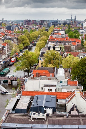 westerkerk: City of Amsterdam cityscape from above, view from the Westerkerk tower, Netherlands, North Holland.