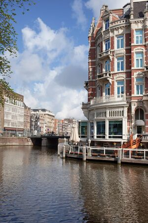 amstel river: Amstel river in Amsterdam, Holland, Netherlands. Stock Photo