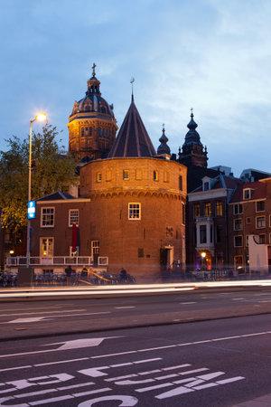 fortify: Weeping Tower (Dutch: Schreierstoren) at dusk in Amsterdam, Netherlands. Editorial
