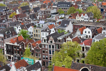 Amsterdam from above, apartment buildings, historic houses of the old city quarter, Holland, Netherlands.