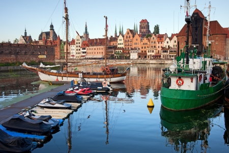 Old Town of Gdansk skyline, view from the city marina by the Motlawa river in Poland. photo