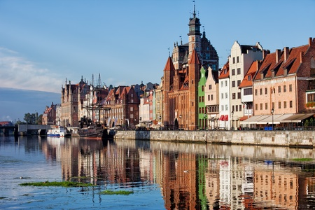 gdansk: Old Town of Gdansk skyline in the morning by the Motlawa river in Poland.