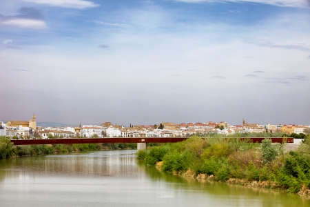 miraflores district: City of Cordoba skyline with Puente de Miraflores over Guadalquivir river in Andalusia, Spain.