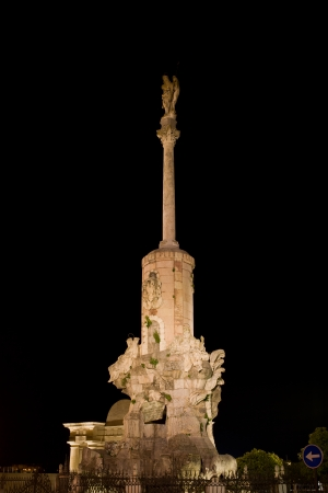 san rafael: Triumph of Saint Rafael (Spanish:Triunfo de San Rafael) monument at night in the city of Cordoba, Andalusia, Spain.