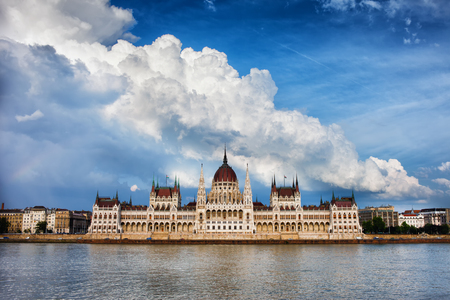 neo gothic: Hungarian Parliament Building by the Danube river in Budapest, Hungary and dramatic sky above.