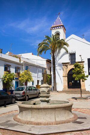 crist: Hermita Del Santo Cristo at the Plaza Santo Cristo in Marbella, Spain, Andalusia region. Stock Photo