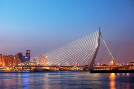 Erasmus Bridge at twilight in the city centre of Rotterdam, Netherlands, South Holland province.