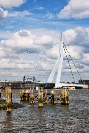 maas: Erasmus Bridge on the Nieuwe Maas river in the city centre of Rotterdam, Netherlands, South Holland province. Stock Photo