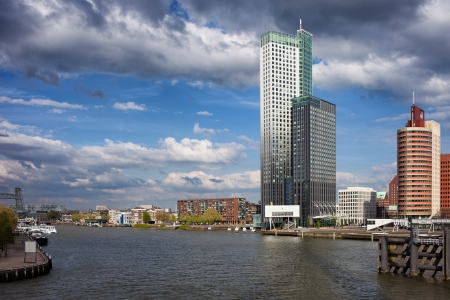 maas: City of Rotterdam skyline and Nieuwe Maas (New Meuse) river, Netherlands, South Holland province. Stock Photo