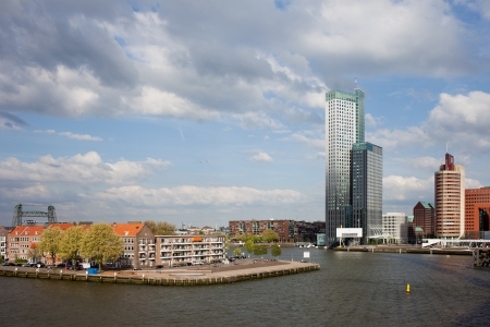 maas: City of Rotterdam cityscape and Nieuwe Maas (New Meuse) river in Netherlands, South Holland province.