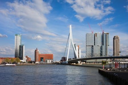 maas: City centre of Rotterdam, Erasmus Bridge (Erasmusbrug) on Nieuwe Maas (New Meuse) river in Netherlands.