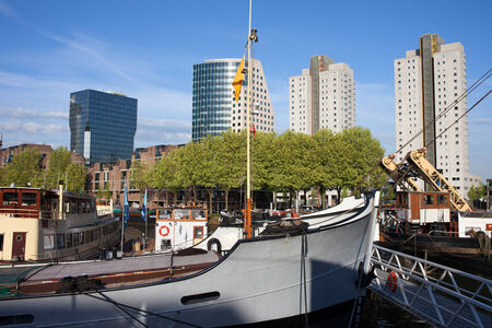 rotterdam: Rotterdam cityscape in Holland, Netherlands, view from haven in the city centre.