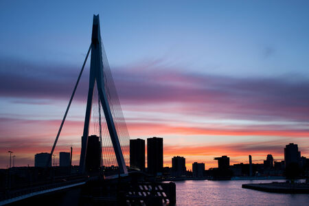 rotterdam: City of Rotterdam skyline silhouette at twilight in Netherlands, South Holland province. Stock Photo