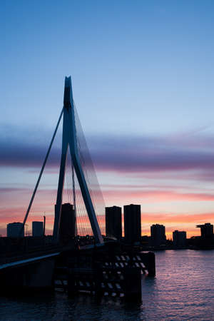 rotterdam: City of Rotterdam skyline silhouette at dusk in Netherlands, South Holland province. Stock Photo