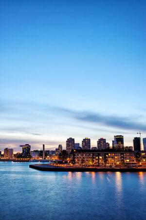 rotterdam: City of Rotterdam skyline at twilight in South Holland, Netherlands. Stock Photo
