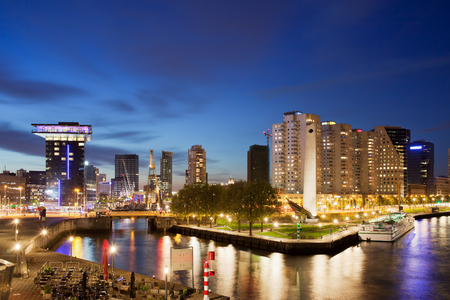 City of Rotterdam cityscape at night in Netherlands, South Holland province. photo