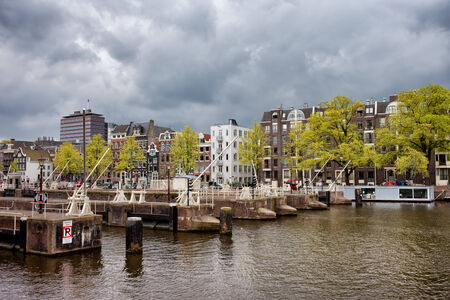 amstel river: Amsterdam skyline, view from the Amstel river in North Holland, Netherlands.