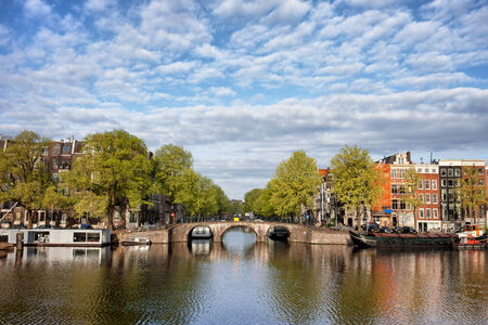 north holland: River view of Amsterdam in the Netherlands, North Holland province.
