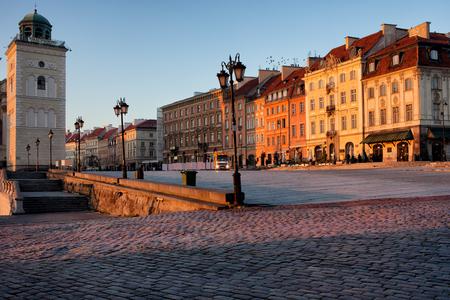krakowskie przedmiescie: Sunrise in the city of Warsaw, Poland.