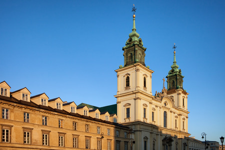 krakowskie przedmiescie: Baroque style Church of the Holy Cross and tenement houses in Warsaw, Poland.