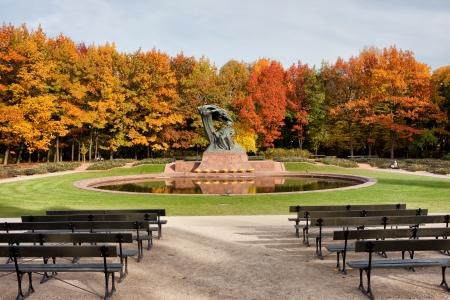 chopin heritage: Chopin monument in autumn scenery of the Royal Lazienki Park in Warsaw, Poland, designed around 1904 by Waclaw Szymanowski (1859-1930). Stock Photo