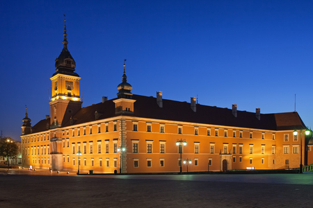 Royal Castle illuminated in the morning in the Old Town of Warsaw, Poland.