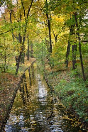 leafage: Canal in the Royal Lazienki Park (Polish: Lazienki Krolewskie, Park Lazienkowski), city of Warsaw, Poland.