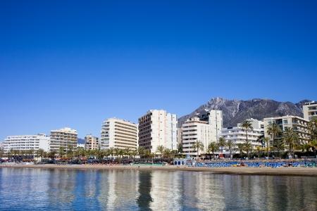 condominium complex: Apartment buildings and condominiums at Mediterranean Sea in resort city of Marbella, Costa del Sol, Spain.