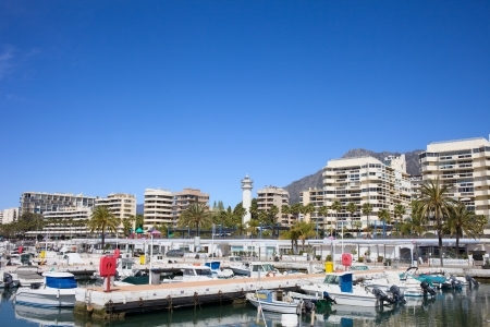 costa del sol: Marina and apartment buildings in resort city of Marbella on Costa del Sol in Spain. Stock Photo