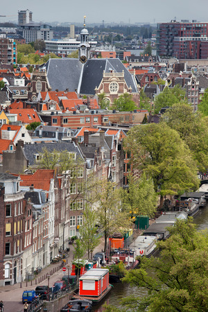 prinsengracht: City of Amsterdam cityscape, view from above, Prinsengracht street and canal on the first plan, Holland, the Netherlands. Stock Photo