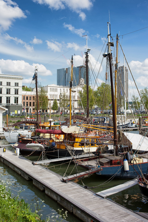 rotterdam: Sail boats moored at port in the city centre of Rotterdam, South Holland, the Netherlands. Stock Photo
