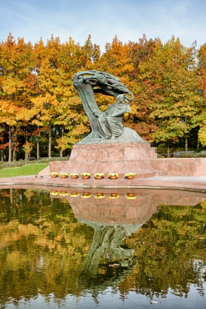 Fryderyk Chopin monument in autumn scenery of the Royal Lazienki Park in Warsaw, Poland, designed around 1904 by Waclaw Szymanowski (1859-1930). photo