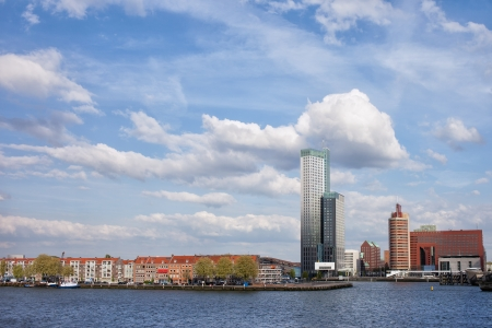maas: City of Rotterdam cityscape and Nieuwe Maas (New Meuse) river in South Holland, the Netherlands.