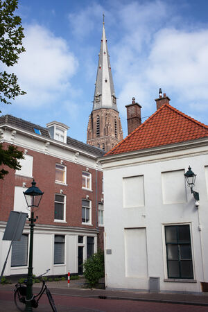 dutch landmark: Buildings on Kazernestraat street and tower of St Jacobus Church in The Hague  Dutch  Den Haag , South Holland, the Netherlands
