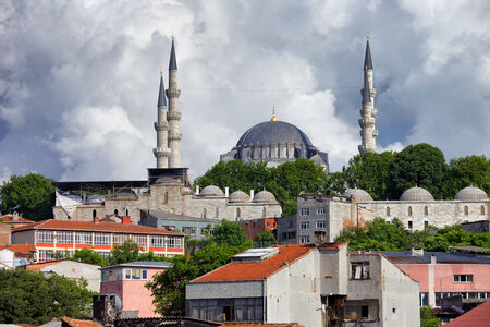 Cityscape of Istanbul with Suleymaniye Mosque on a hill in Turkey. photo