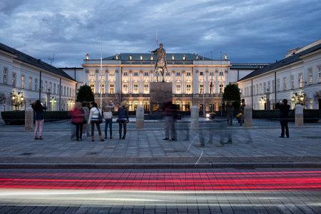 krakowskie przedmiescie: Presidential Palace in the evening on Krakowskie Przedmiescie street in Warsaw, Poland.
