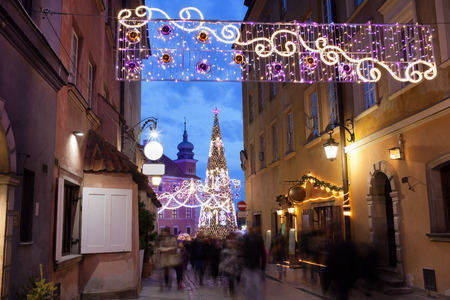 christmas illuminations: Christmas decorations on Piwna street in the Old Town of Warsaw, Poland.