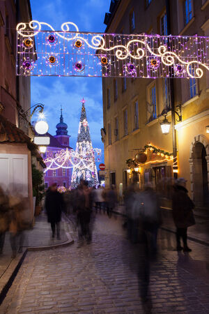 Christmas decorations on Piwna street in the Old Town of Warsaw, Poland. photo