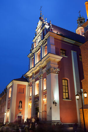 mannerism: Jesuit Church (Church of the Gracious Mother of God) in Warsaw, Poland at night, 17th century Mannerist architectural style.