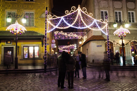 Christmas illumination in the Old Town of Warsaw, Poland. photo