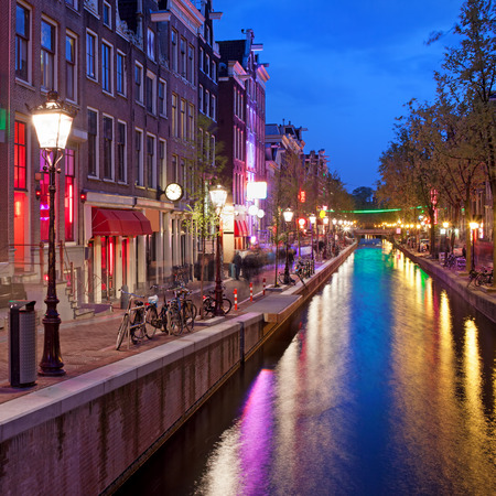 Red Light District in Amsterdam at night, North Holland, the Netherlands. photo