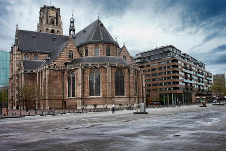 old church: Gothic style Church of St Lawrence (Dutch: Grote of St Laurenskerk), city landmark and the oldest building in Rotterdam, Holland, Netherlands.