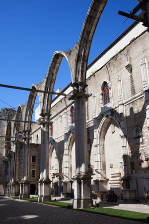 chiado: Ruins of the 14th-15th century Gothic church Igreja do Carmo in Lisbon, Portugal. Damaged by the earthquake in 1755. Stock Photo