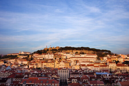 View from above over beautiful city of Lisbon at sunset in Portugal. photo