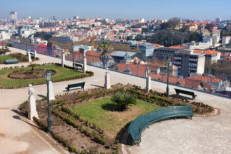 san pedro: View over Lisbon from the Garden of San Pedro de Alcantara (Portuguese: Miradouro de Sao Pedro de Alcantara), Portugal. Stock Photo