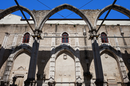 carmo: Ruins of the 14th-15th century Gothic church Igreja do Carmo in Lisbon, Portugal. Damaged by the earthquake in 1755. Stock Photo