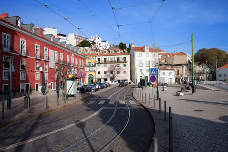 tramline: Portas do Sol terrace and street in the Alfama district of Lisbon in Portugal.