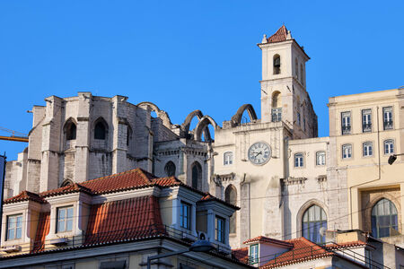 Ruins of the 14th century Igreja do Carmo seen from the Baixa in Lisbon, Portugal, destroyed by the earthquake in 1755. photo