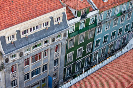 baixa: Old apartment houses and tenement buildings in the Baixa district of Lisbon in Portugal, view from above. Stock Photo